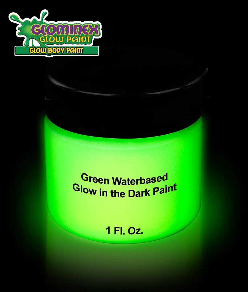 Glominex AD388 Glow in the Dark Body Paint 1oz Jar - Green