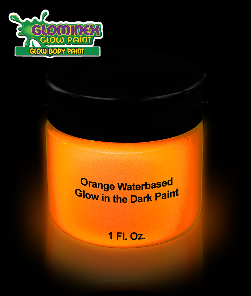 Glominex AD392 Glow in the Dark Body Paint 1oz Jar - Orange