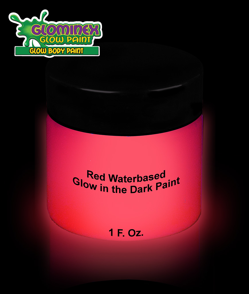 Glominex AD387 Glow in the Dark Body Paint 1oz Jar - Red