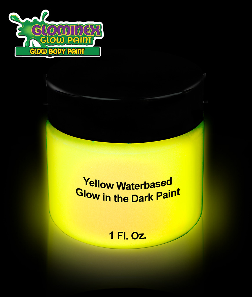 Glominex AD389 Glow in the Dark Body Paint 1oz Jar - Yellow