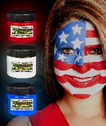 Glominex AQ702 Glow in the Dark Body Paint 1oz Red White Blue 3ct