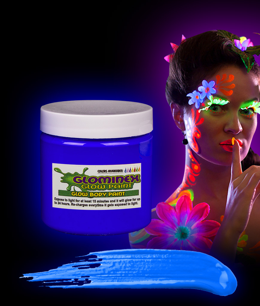 Glominex AC832 Glow in the Dark Body Paint 4oz Jar - Blue