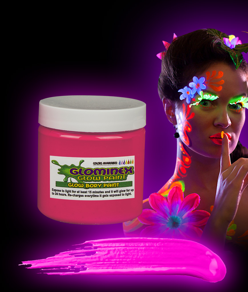 Glominex AC831 Glow in the Dark Body Paint 4oz Jar - Pink