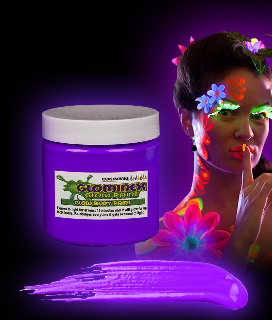 Glominex AC835 Glow in the Dark Body Paint 4oz Jar - Purple