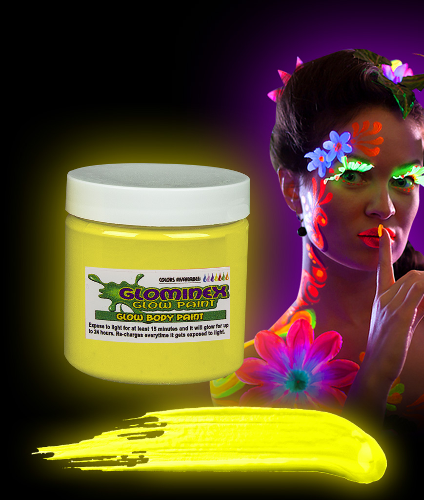 Glominex AC834 Glow in the Dark Body Paint 4oz Jar - Yellow