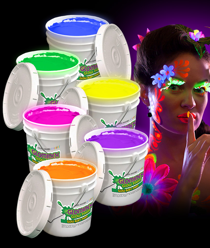 Glominex AH926 Glow in the Dark Body Paint 128oz Buckets - Assorted
