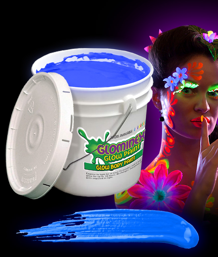 Glominex AC086 Glow in the Dark Body Paint 128oz Bucket - Blue