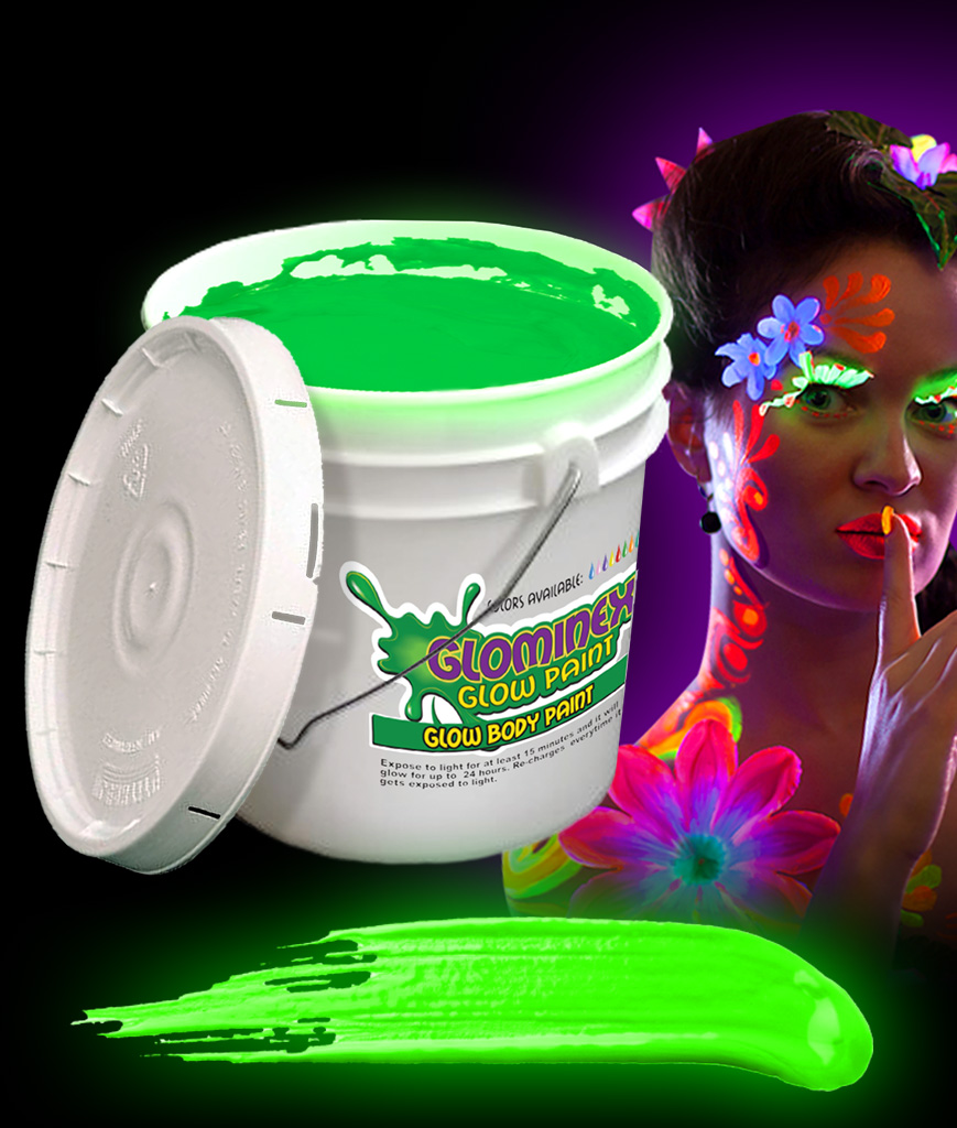 Glominex AC083 Glow in the Dark Body Paint 128oz Bucket - Green