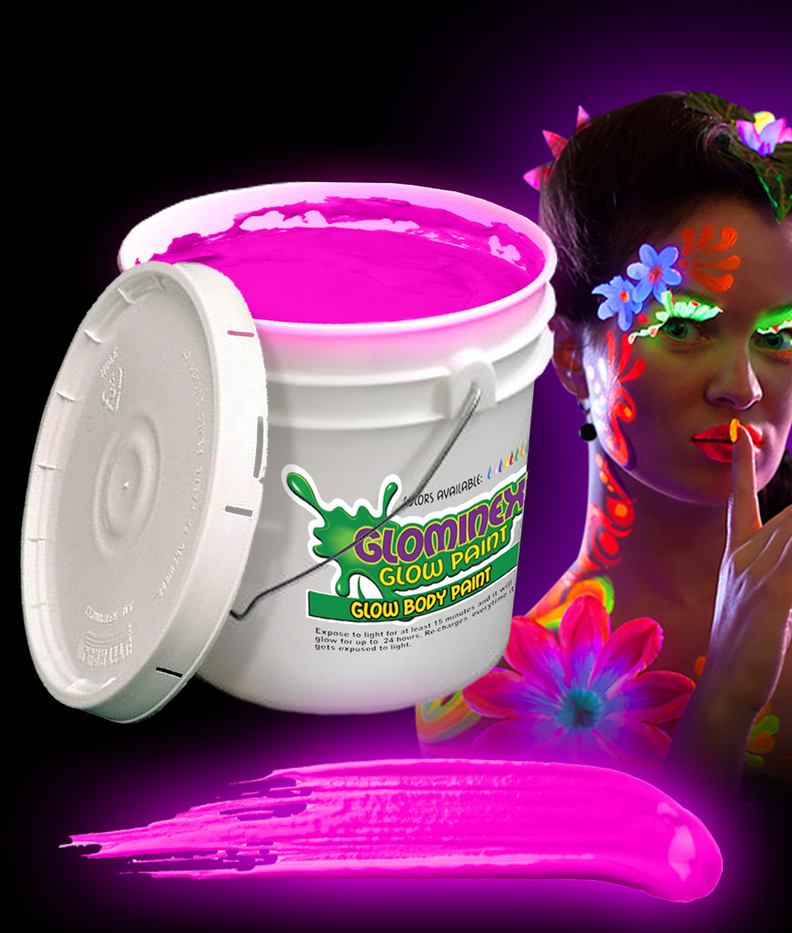 Glominex AC081 Glow in the Dark Body Paint 128oz Bucket - Pink