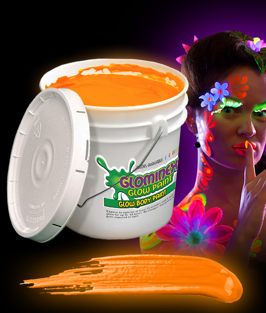 Glominex AC084 Glow in the Dark Body Paint 128oz Bucket - Orange