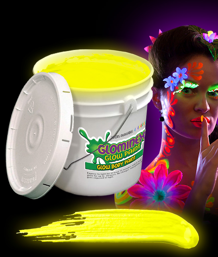Glominex AC085 Glow in the Dark Body Paint 128oz Bucket - Yellow
