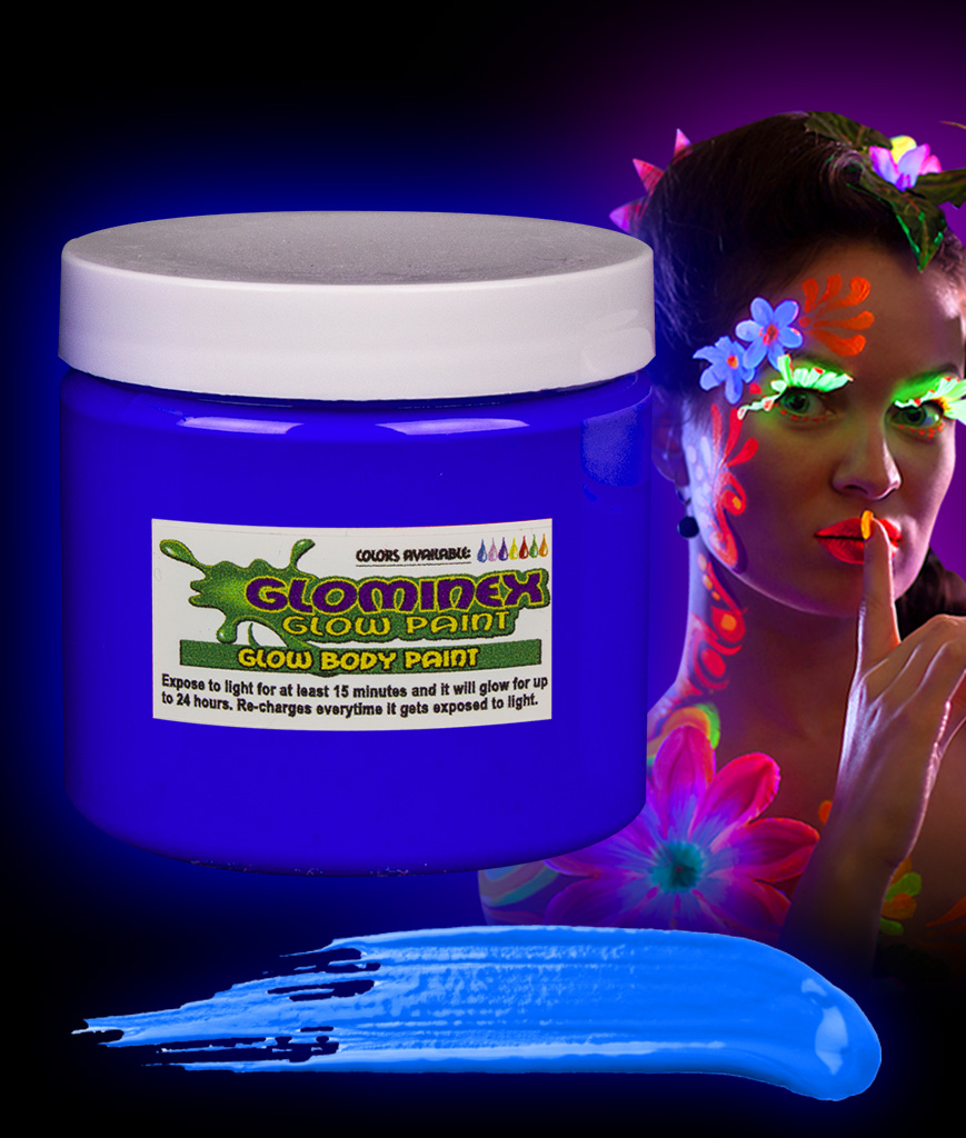 Glominex Glow Body Paint 16oz Jar - Blue