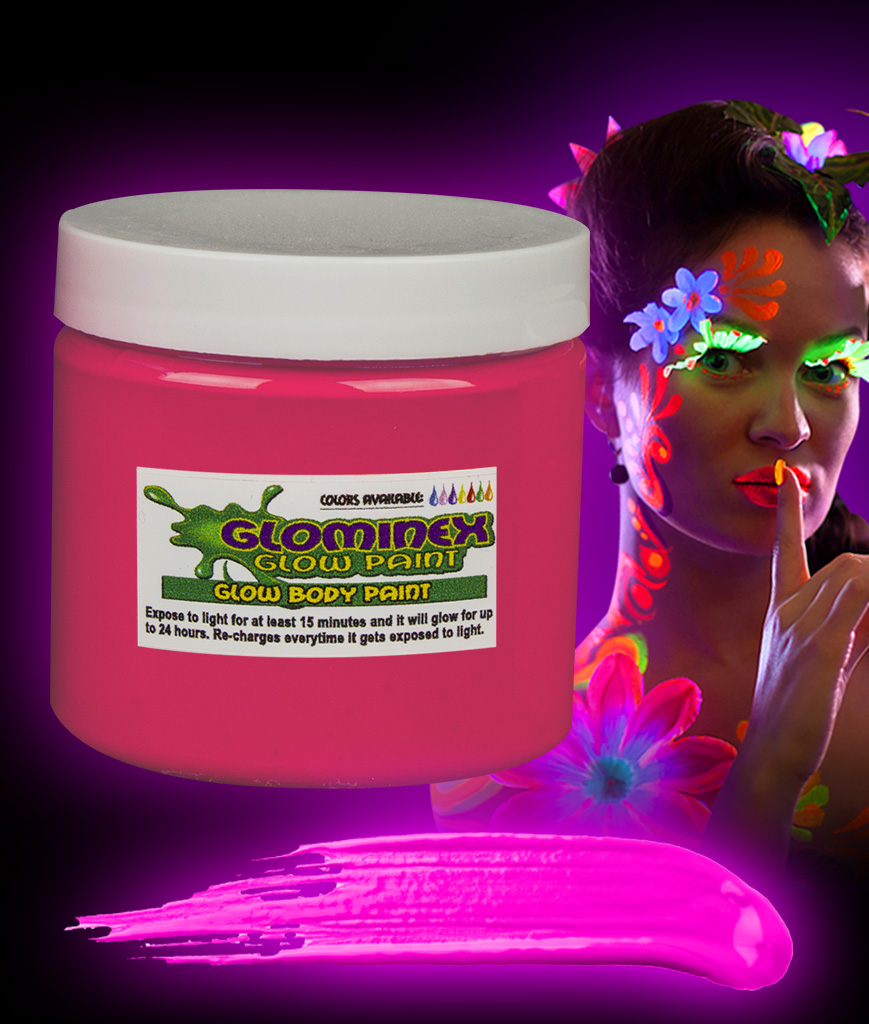 Glominex Glow Body Paint 16oz Jar - Pink