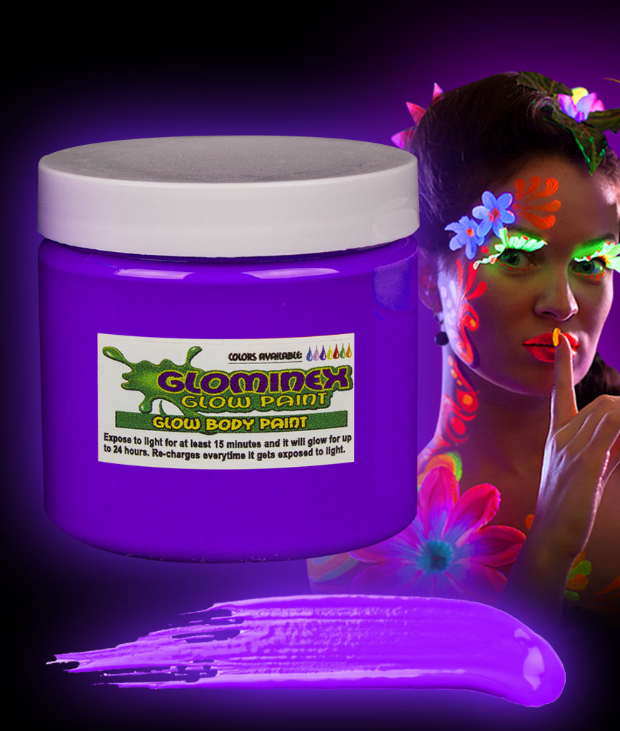 Glominex AC821 Glow in the Dark Body Paint 16oz Jar - Purple