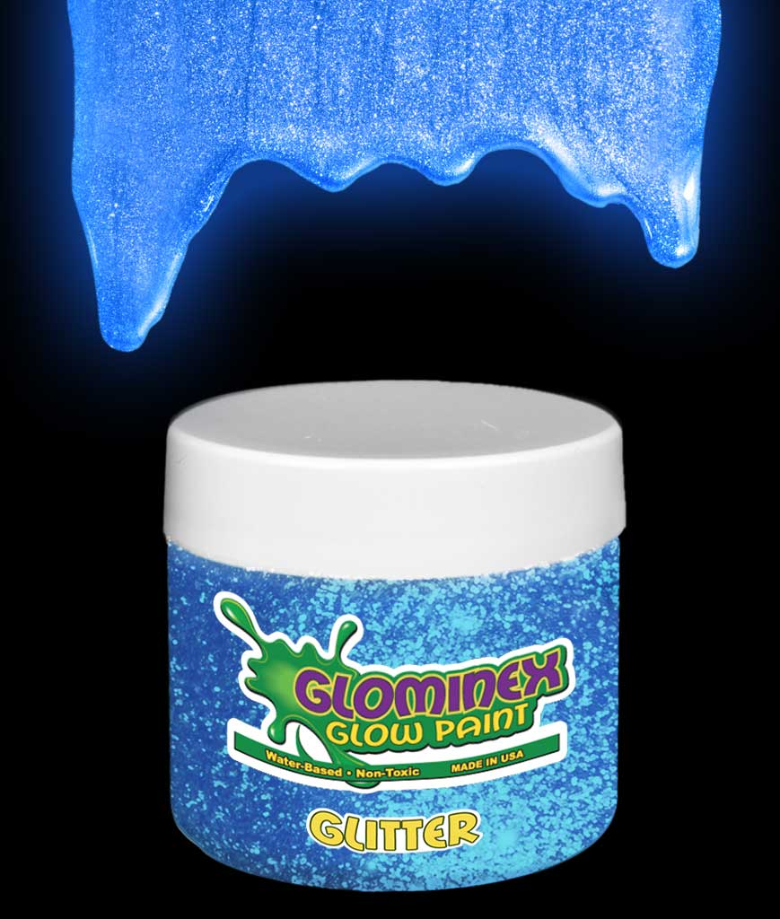 Glominex Glitter Glow Paint 2 oz Jar - Blue