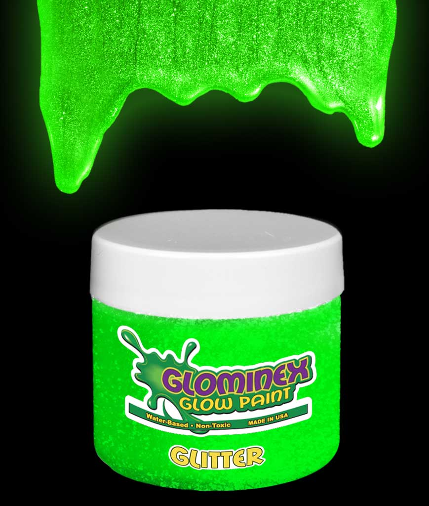Glominex Glitter Glow Paint 2 oz Jar - Green