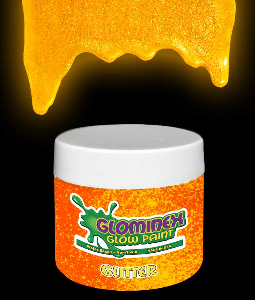 Glominex AD302 Glitter Glow in the Dark Paint 2 oz Jar - Orange