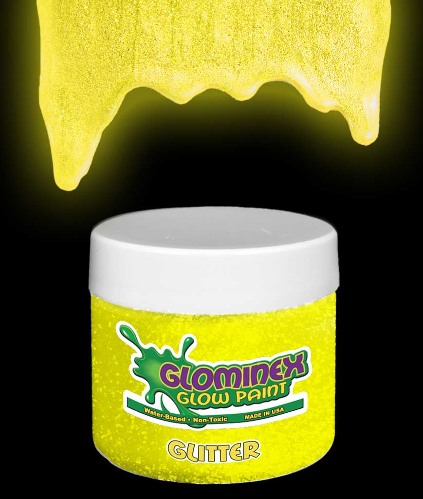 Glominex AD299 Glitter Glow in the Dark Paint 2 oz Jar - Yellow