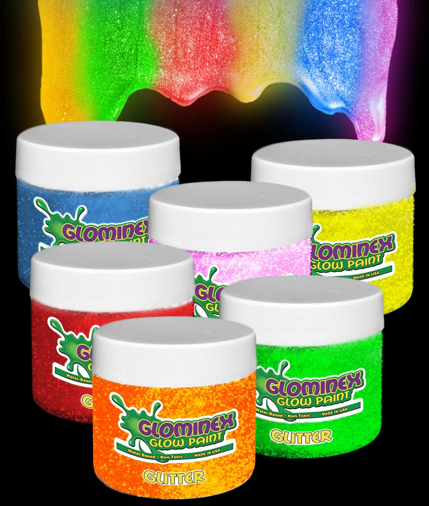 Glominex Glitter Glow Paint 4 oz Jars - Assorted