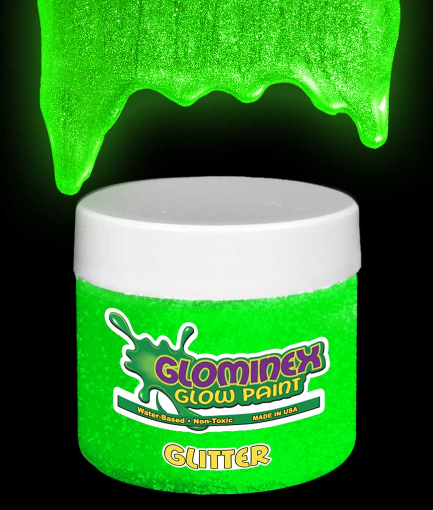 Glominex AD307 Glitter Glow in the Dark Paint 4 oz Jar - Green