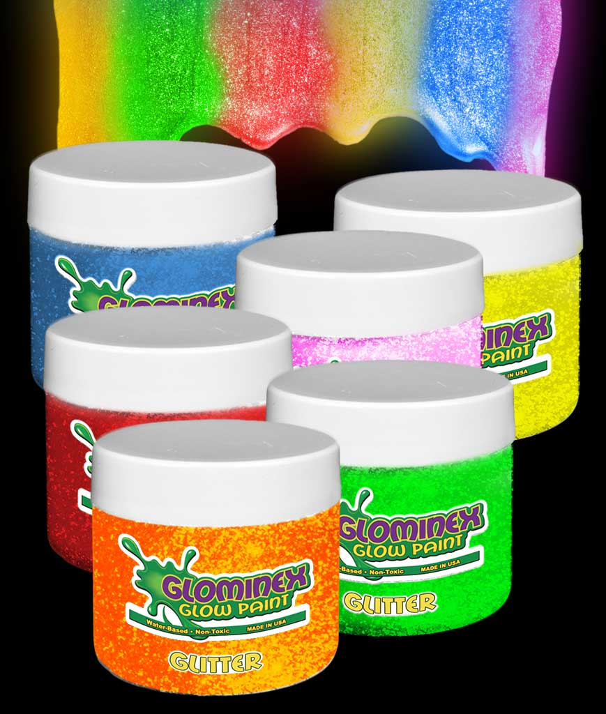 Glominex Glitter Glow Paint 8 oz Jars - Assorted