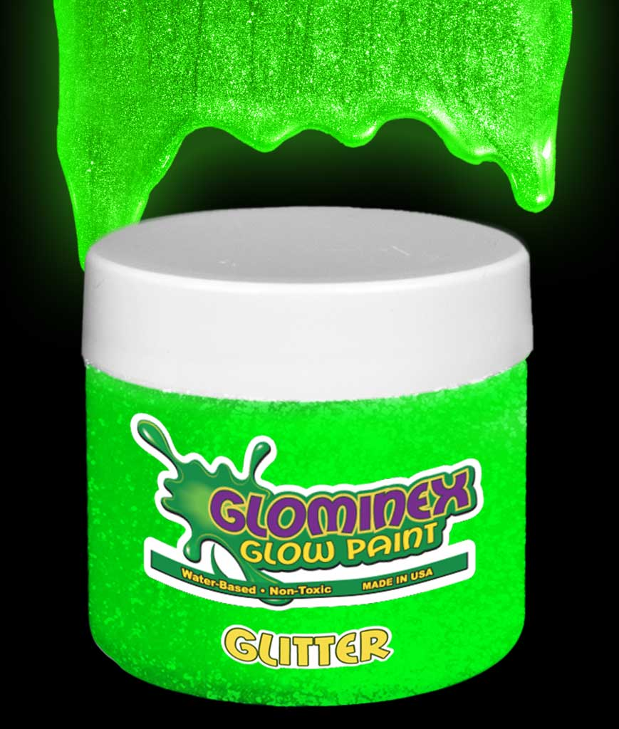 Glominex Glitter Glow Paint 8 oz Jar - Green