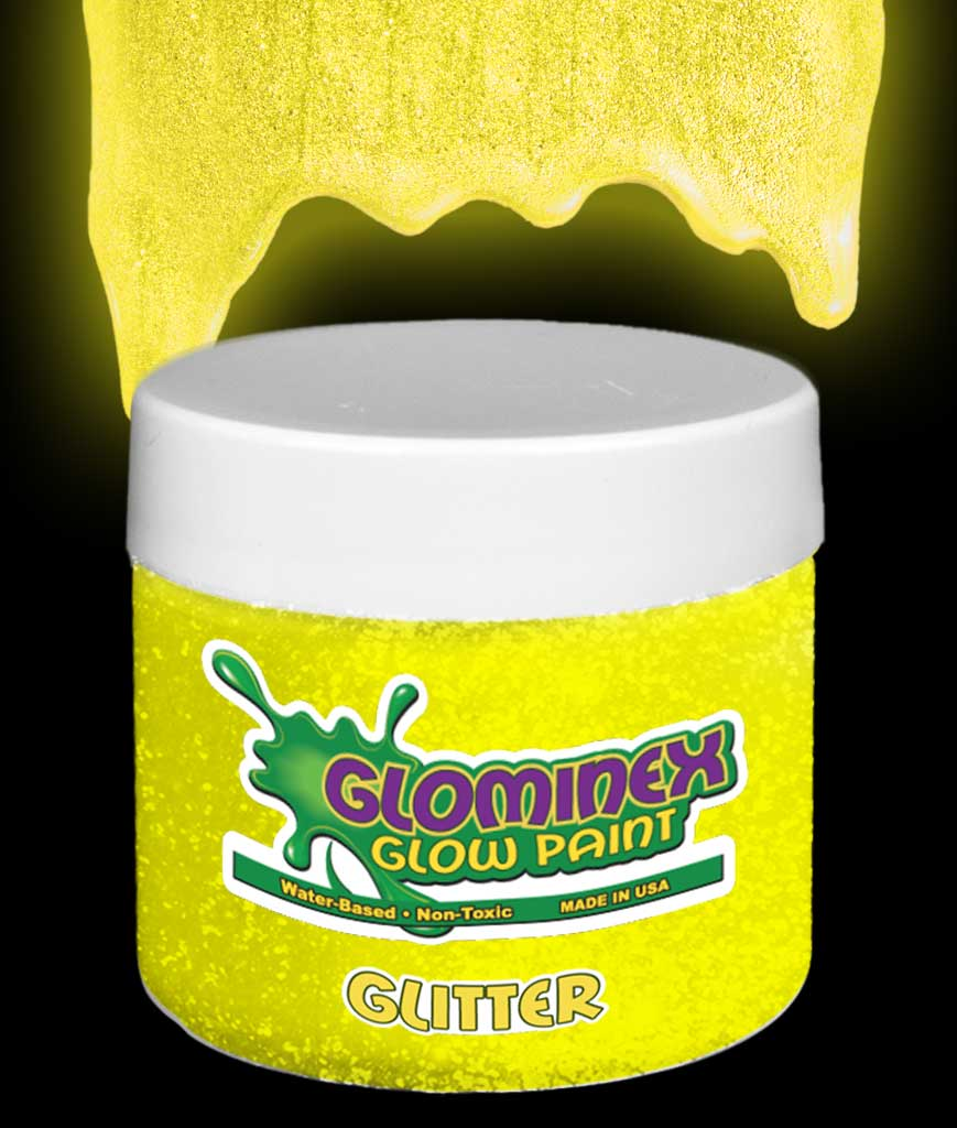 Glominex Glitter Glow Paint 8 oz Jar - Yellow