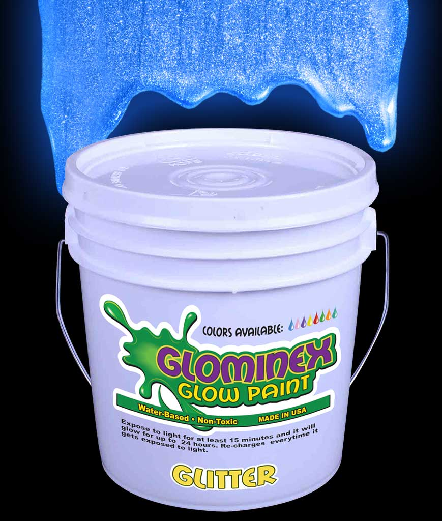 Glominex Glitter Glow Paint Gallon - Blue