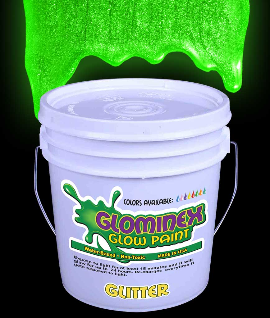 Glominex AD383 Glitter Glow in the Dark Paint Gallon - Green