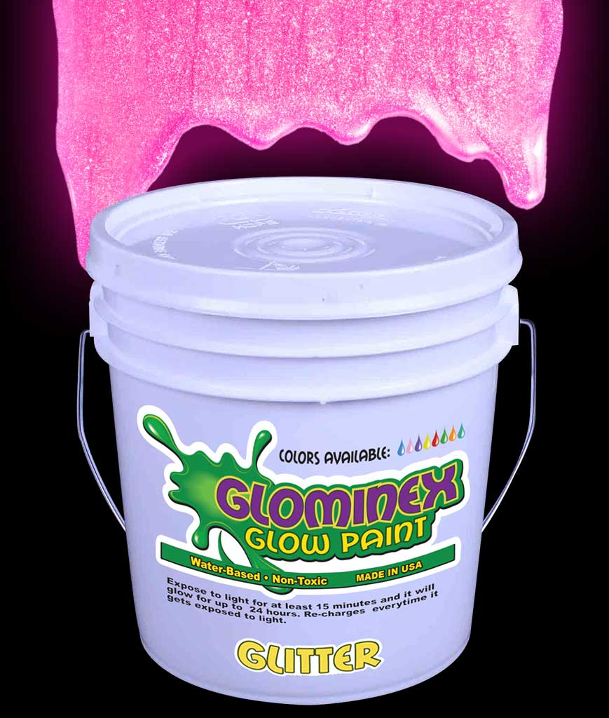 Glominex Glitter Glow Paint Gallon - Pink