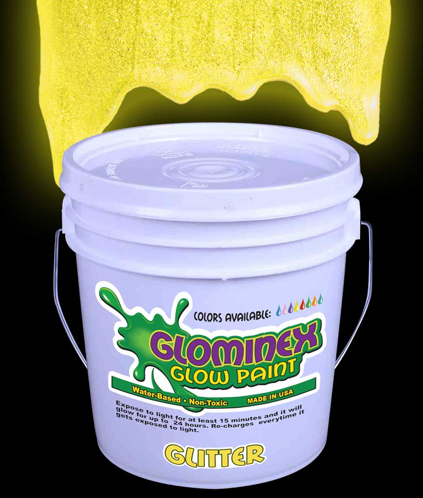 Glominex Glitter Glow Paint Gallon - Yellow