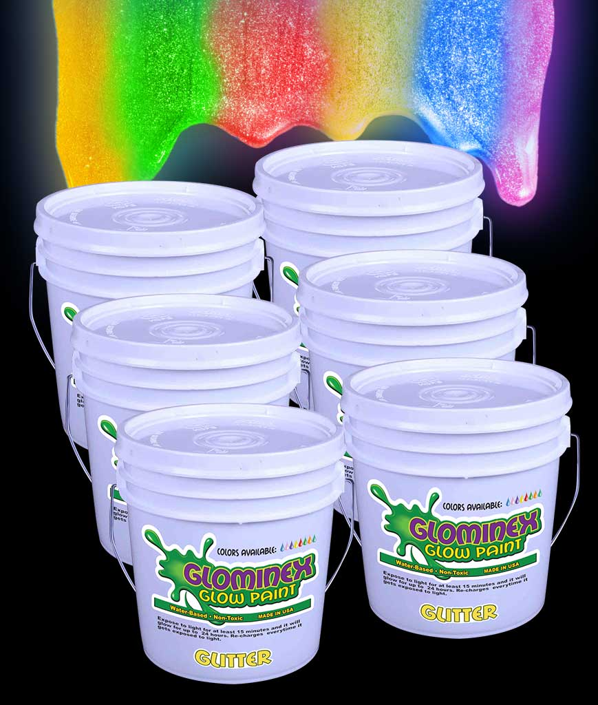 Glominex AD379 Glitter Glow in the Dark Paint Gallons - Assorted
