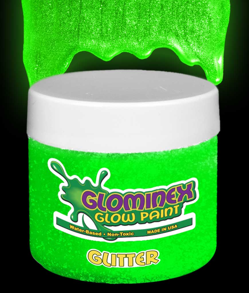 Glominex Glitter Glow Paint Pint - Green