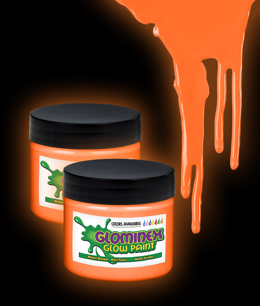 Glominex AI276 Glow in the Dark Paint 1 oz Jar - Orange