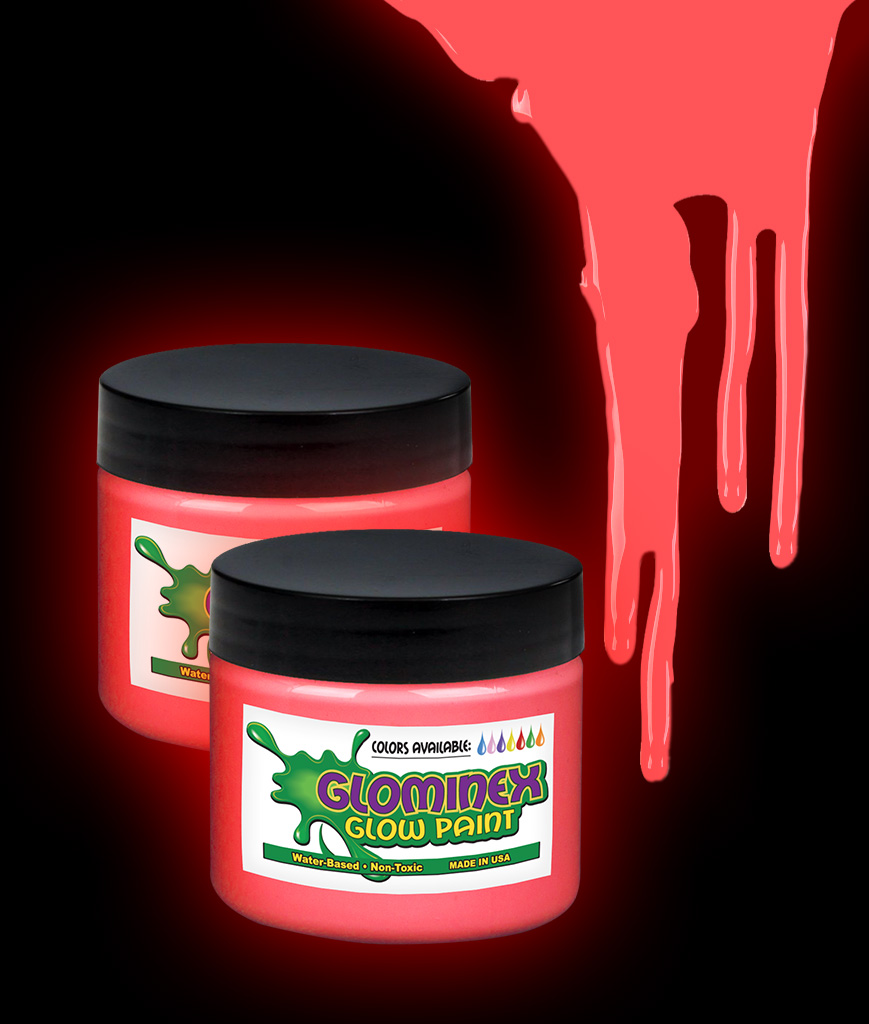 Glominex AI279 Glow in the Dark Paint 1 oz Jar - Red