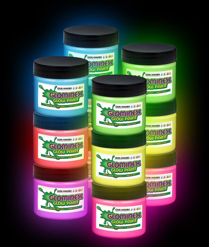 Glominex Glow Paint 1 oz Jars - Assorted 12ct