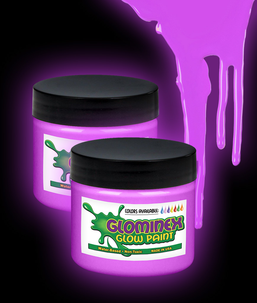 Glominex AJ951 Glow in the Dark Paint 2 oz Jar - Purple