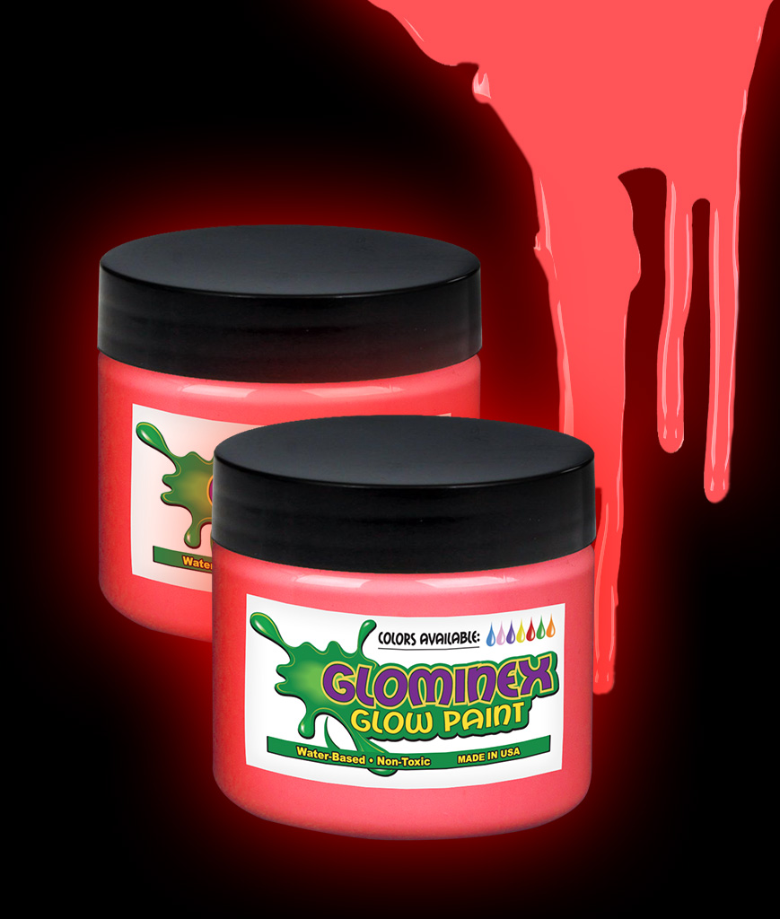 Glominex O837 Glow in the Dark Paint 2 oz Jar - Red