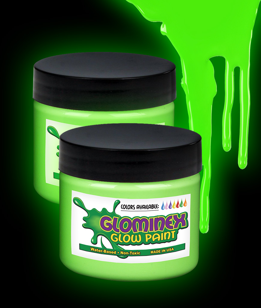 Glominex O938 Glow in the Dark Paint 4 oz Jar - Green