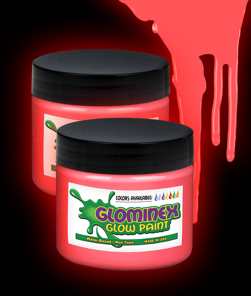 Glominex O934 Glow in the Dark Paint 4 oz Jar - Red