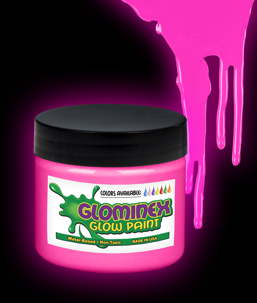 Glominex O845 Glow in the Dark Paint 8 oz Jar - Pink