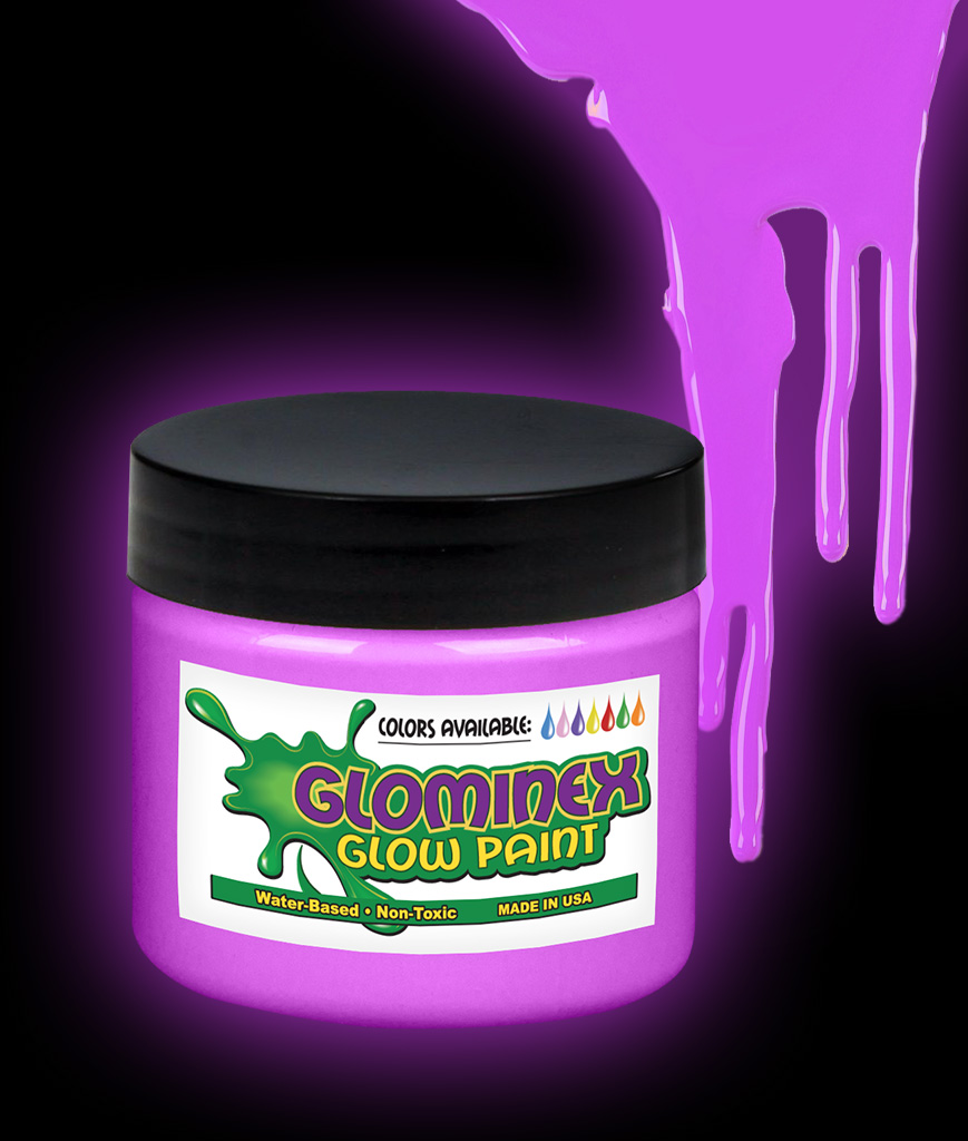Glominex AD670 Glow in the Dark Paint 8 oz Jar - Purple