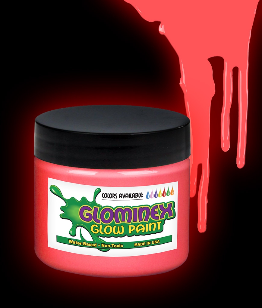 Glominex O842 Glow in the Dark Paint 8 oz Jar - Red