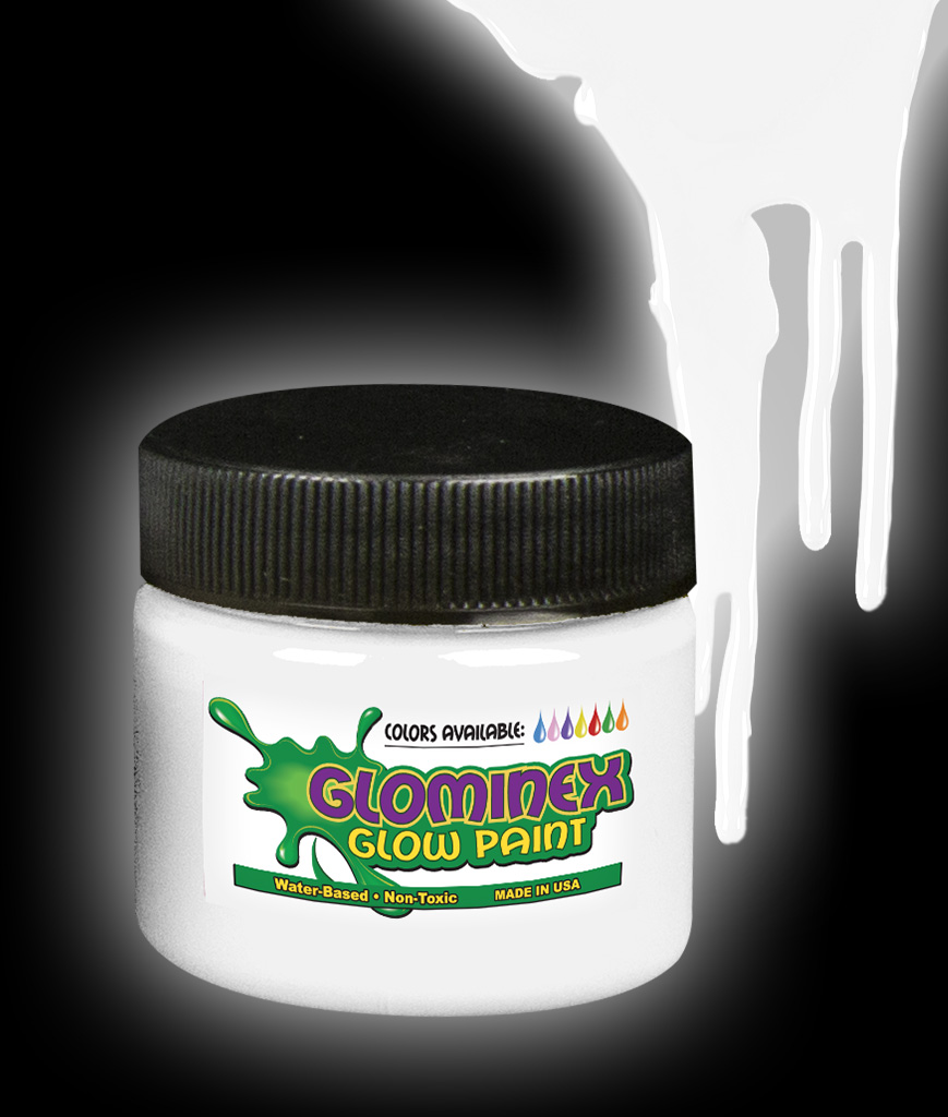 Glominex Glow Paint 8 oz Jar - White