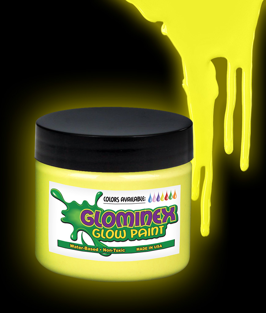 Glominex O841 Glow in the Dark Paint 8 oz Jar - Yellow