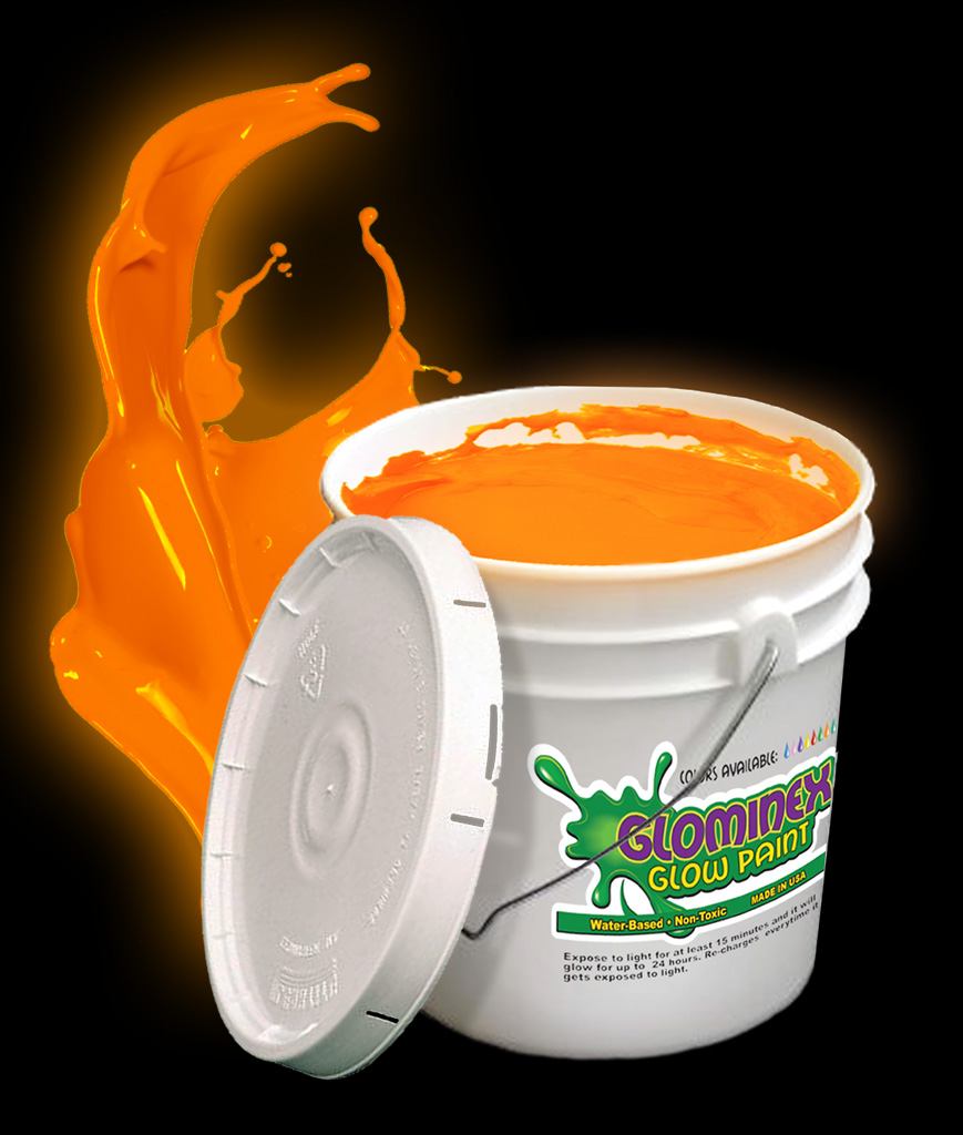 Glominex O930 Glow in the Dark Paint Gallon - Orange