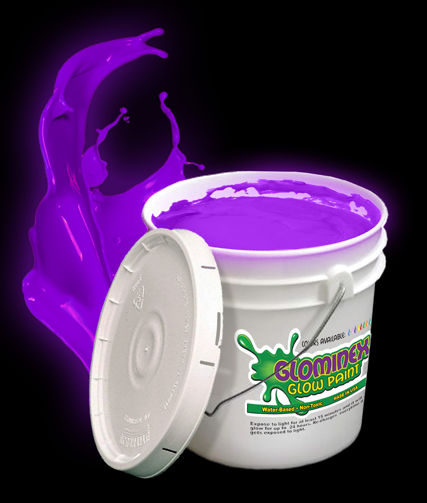 Glominex AI578 Glow in the Dark Paint Gallon - Purple
