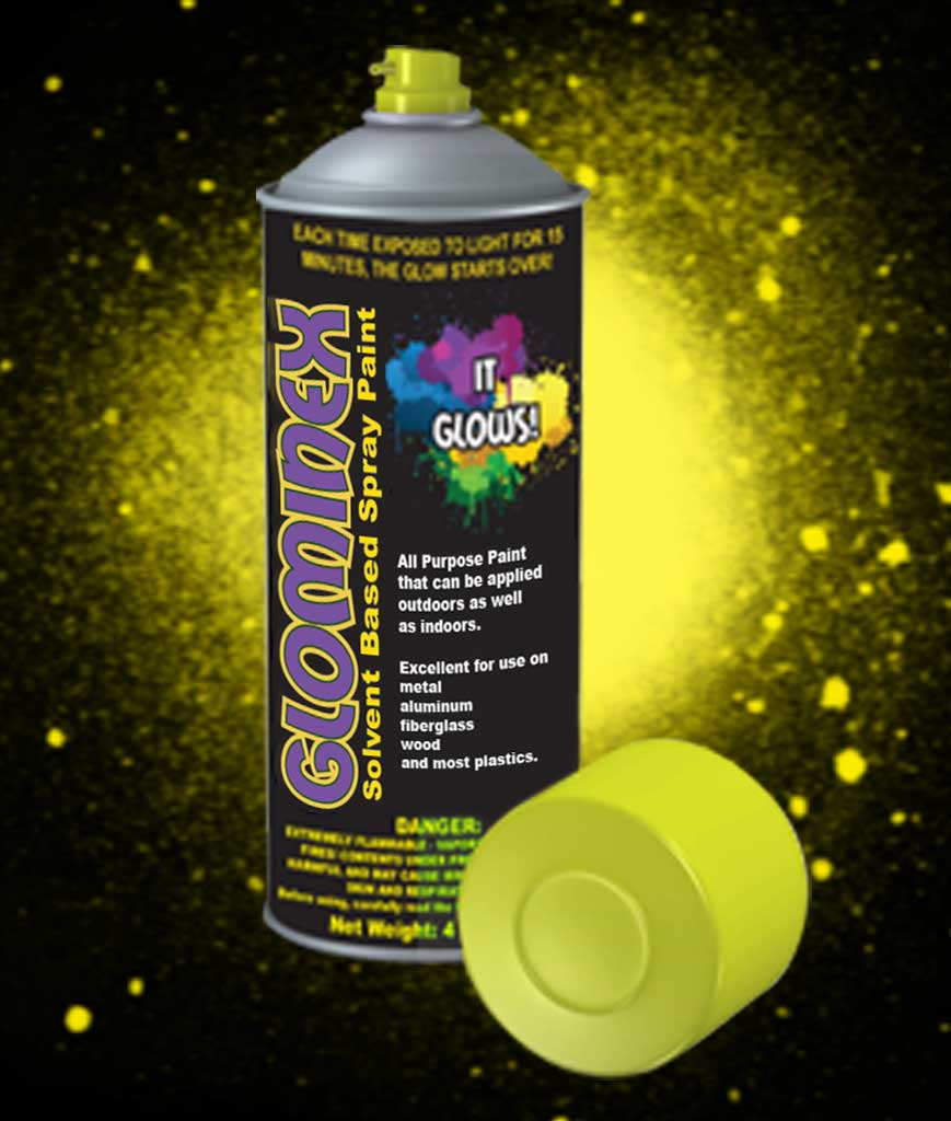 Glominex Glow Spray Paint 4oz- Yellow