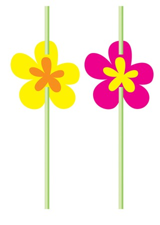 Luau Flower Attachment on Straws