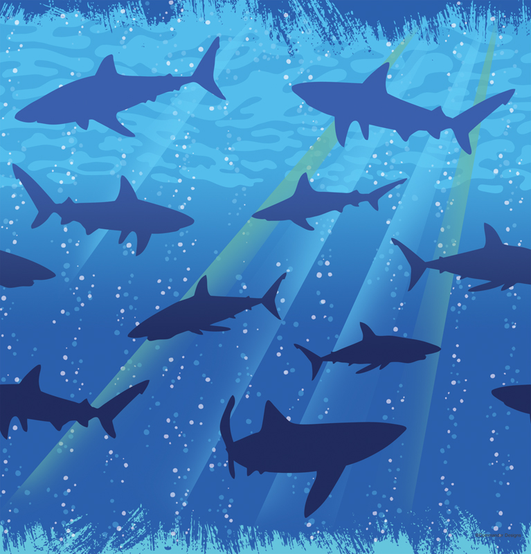 Shark Splash Plastic Tablecover- 108in
